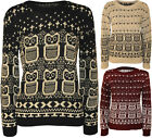 New Womens Owl Print Pattern Long Sleeve Sweater Top Ladies Knitted Jumper 8-14