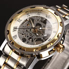 Skeleton Automatic Mans Steel Auto Self-Winding Men Mens Mechanical Watch