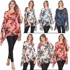 New Womens Leafy Floral Print Baggy Silk Layering Cotton Top Plus Size 10 14 20