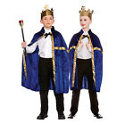 Boys Girls Deluxe Blue King/Queen Robe & Crown Costume for Royal Fancy Dress