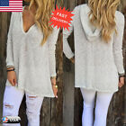 Womens Long Sleeve Shirt Casual Loose Knitted Blouse Tops Hooded T Shirt NEW