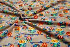 Double Sided Supersoft Cuddlesoft Fleece Fabric Material - SILVER OWLS