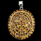 Precious Natural Oval 5x3mm Top Rich Yellow Citrine 925 Sterling Silver Pendant