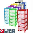 CrazyGadget® Plastic Large Tower Storage Drawers Chest Unit with Wheels.