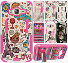 For Galaxy Express Prime HYBRID KICK STAND Rubber Case Phone Cover Accessory