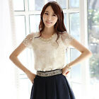 Women's Fashion Elegant Flower Beading Lace Embroidered Blouse Tops Size S-XXL