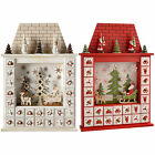 Wooden Santa House Advent Calendar Christmas Decoration Red White