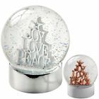 Joy Love Peace Snow Globe Christmas Decoration, 12 cm - Rose Gold White