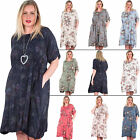New Womens Floral Print Elasticated Waist Round Neck Casual Dress Size 14 18 24