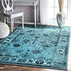nuLOOM Traditional Overdyed Vintage Floral Area Rug in Turquoise Blue