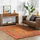 nuLOOM Hand Made Overdyed Vibrant Traditional Floral Wool Area Rug in Orange
