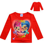 2017 Hot New Kids Girl Shimmer and Shine Cotton Long Sleeve Beautiful  T-shirt