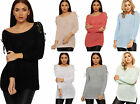 Womens Tie Sleeve Cable Knitted Jumper Ladies Cold Shoulder Long Sleeve Top 8-14