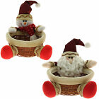 Santa Snowman Multi-Use Treats Sweets Christmas Wicker Basket Table Decoration