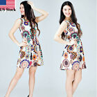 CA Women Summer Sleeveless Sunflower Print Lady Casual Beach Mini Dress Trendy