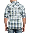 AFFLICTION Mens Embroidered Button Down Shirt BOLD MOVE Skull Biker UFC Roar $88