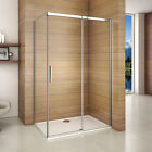 Aica Frameless Sliding Shower Enclosure Door & Tray Walk In Glass Screen Cubicle