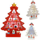 Pre-Lit Wooden Christmas Tree Colour Change Red White LED Silhouette Decoration