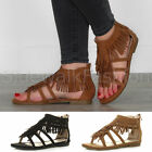 Womens ladies flat strappy tassel fringe festival ankle gladiator sandals size