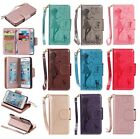 Fancy Embossing Girl&Cat 9 Cards Slot Synthetic Leather Wallet Stand Case Cover