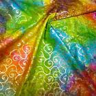 Multicolor Rainbow Batik With Metallic Gold Swirls, Cotton, Quilting & Apparel