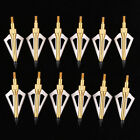12pcs Hunting Arrow Broadheads 100Grain 3 Blades + Box for Crossbow and Compound