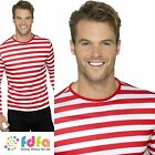 "RED & WHITE STRIPEY T-SHIRT WHERES WALLY 38""-44"" mens adults fancy dress costume"