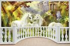 Huge 3D Balcony Fantasy Unicorn Castle Wall Stickers Wallpaper S32