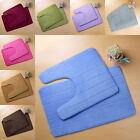 Toilet Rugs Bathroom Mats Non-slip Washable Cotton 8 Colors Carpet New 2 in 1