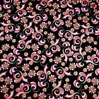 Metallic Gold & Pink Swirled Floral on Black, Cotton by Hoffman, BTHY or BTY