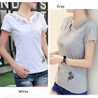 Fashion Womens Ladies Short Sleeve Loose Blouse Summer V Neck Casual Shirt Tops