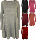 New Womens Plain Long Sleeve Top Short Flared Ladies Knitted Swing Dress 8 - 14