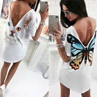 Womens Summer Butterfly Print Backless Loose Casual Tops Blouse Long T-shirt New