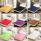Solid Satin Bedding Fitted Sheet Single Double Queen King Size