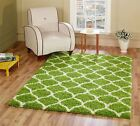 Large Modern Green Trellis Shaggy Carpet Contemporary Soft Area Rug 5CM