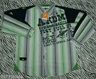 Akademiks Men Urban Green Navy  Embellish Button Front Long Sleeve Shirt XL
