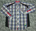 Akademiks Men Urban Blue Pink Plaid Embellish Button Front Long Sleeve Shirt XL