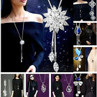 CH Fashion Women Rhinestone Crystal Pendant Necklace Long Sweater Chain Jewelry