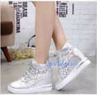 Womens Mesh Breathable Lace Up Sneaker Shoes Sport High Top Increase Wedge Heels
