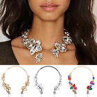 CH New Choker Collar Fashion Crystal Pendant Jewelry Statement Flower Necklace A