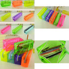 Zipper Pen Pencil Stationery Bag Clear Candy Colors Women's Cosmetic Storage Bag