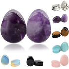 CH Pair Of Teardrop Amethyst Natural Stone Ear Tunnels Plugs Gauges Double Flare