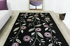 Contemporary Purple Poppy Floral Rugs Small Large Non Shed Modern Runner Rugs