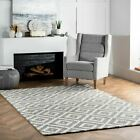 white wool rug - nuLOOM Hand Made Contemporary Geometric Kellee Wool Area Rug in Grey and White
