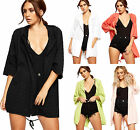 Womens Hooded Linen Cardigan Top Ladies Open Long Sleeve Pocket New 8-14