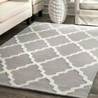 white wool rug - nuLOOM Hand Made Contemporary Geometric Trellis Wool Area Rug in Grey and White