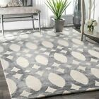 nuLOOM Hand Made Contemporary Vintage Geometric Wool Area Rug in Gray and Ivory