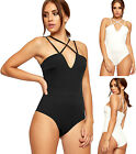 Womens Strappy Open Back Bodysuit Top Ladies Sleeveless Plain Stretch Leotard