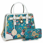 Dasein Women Fashion Handbag Top Handles Satchel Tote Purse Bag w/ Wallet Set
