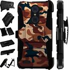 For Alcatel Huawei ZTE Phone Cover Holster Hybrid Case BROWN CAMO LuxGuard